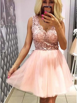 A-Line V-Neck Short Pink Tulle Homecoming Dress with Lace