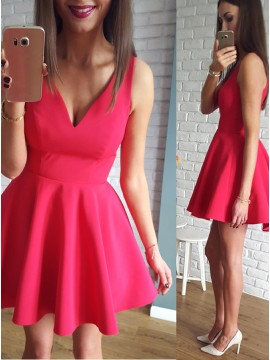 A-Line V-Neck Red Short Satin Homecoming Dress with Ruched