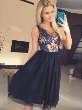 A-Line V-Neck Knee-Length Navy Blue Homecoming Dress