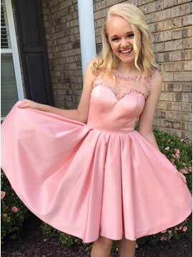 A-Line Crew Neck Pink Satin Homecoming Dress with Beading