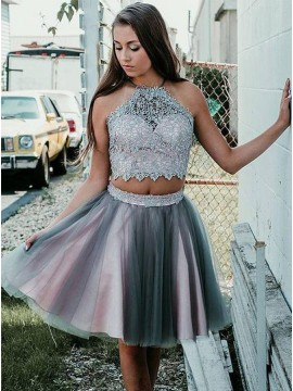 Two Piece Halter Backless Short Lavender Tulle Homecoming Dress