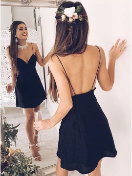 A-Line Spaghetti Straps Backless Short Black Homecoming Dress