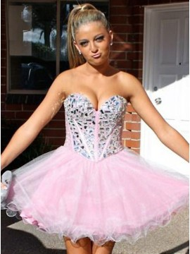 A-Line Sweetheart Short Pink Homecoming Dress with Beading