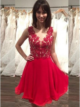 A-Line Jewel Illusion Back Appliques Red Chiffon Homecoming Dress