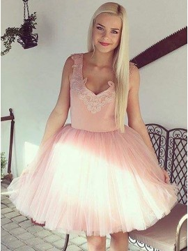 A-Line V-Neck Pink Homecoming Dress with Appliques