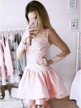 A-Line V-Neck Long Sleeves Short Pink Homecoming Dress with Lace