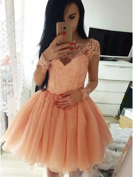 A-Line Bateau Long Sleeves Short Coral Homecoming Dress