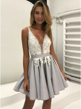 A-Line V-Neck Backless Short Grey Homecoming Dress with Appliques
