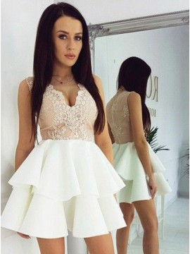 A-Line V-Neck Ivory Satin Tired Homecoming Dress with Appliques