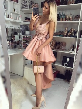 A-Line Spaghetti Straps High-Low Blush Homecoming Dress with Appliques
