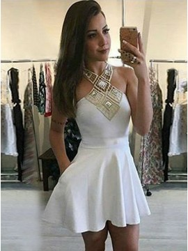 A-Line Cross Neck White Satin Homecoming Dress with Pockets