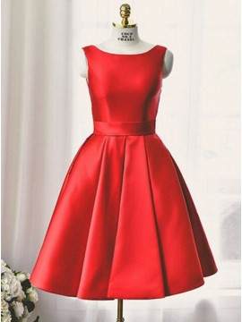 A-Line Bateau Open Back Red Satin Homecoming Dress with Pockets