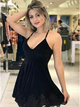 A-Line Spaghetti Straps Little Black Dress with Lace