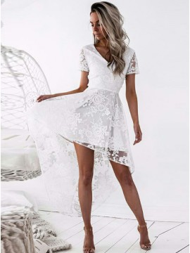 A-Line V-Neck Short Sleeves White Lace Hi-Lo Homecoming Dress