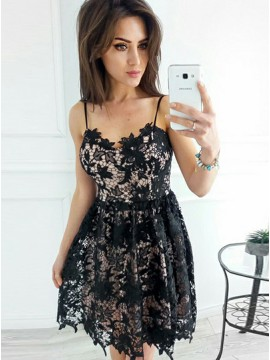 A-Line Spaghetti Straps Short Black Lace Homecoming Dress