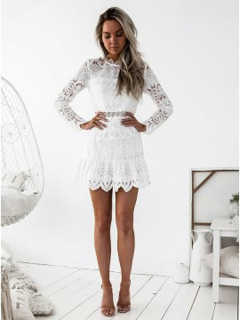 A-Line High Neck Long Sleeves White Lace Homecoming Dress