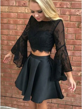 Two Piece Bateau Black Satin Homecoming Dress with  Flare Sleeves