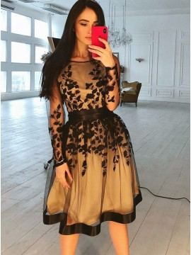 A-Line Round Neck Long Sleeves Knee-Length Black Homecoming Dress with Appliques