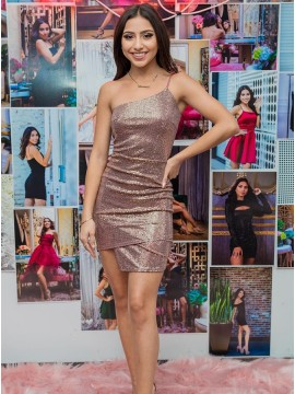 Asymmetrical Sequin One Shoulder Homecoming Dress