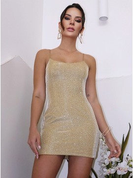 Sheath Glitter Champagne Homecoming Dress