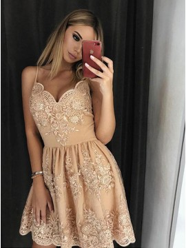 A-Line Spaghetti Straps Above-Knee Champagne Homecoming Dress with Appliques
