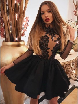 A-Line Jewel Long Sleeves Short Black Homecoming Dress with Appliques