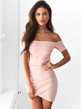 Bodycon Off-the-Shoulder Short Sleeves Pink Homecoming Dress