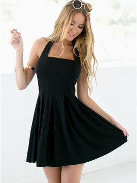A-Line Halter Backless Short Black Cotton Homecoming Dress