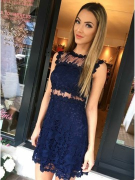 41c31182e30 Sheath Jewel Sleeveless Navy Blue Lace Homecoming .