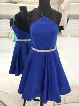 A-Line Halter Backless Royal Blue Satin Homecoming Dress with Beading