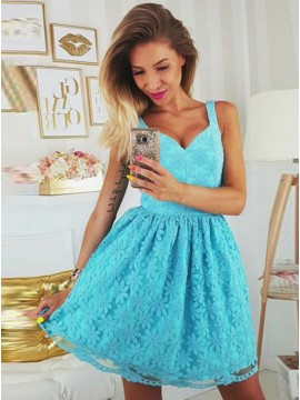 A-Line Straps Short Blue Lace Homecoming Dress