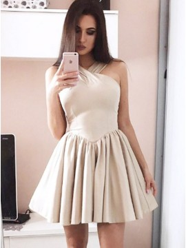 A-Line Cross Neck Short Light Champagne Homecoming Dress with Pleats