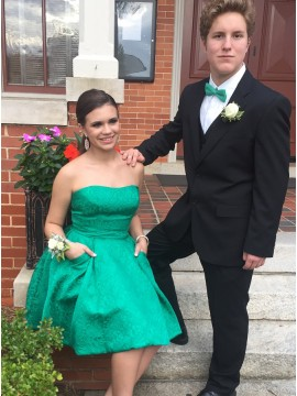 A-Line Strapless Above-Knee Green Printed Satin Homecoming Dress with Pockets