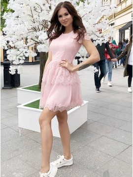 A-Line Crew Short Sleeves Above-Knee Pink Homecoming Dress with Lace