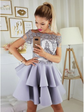 A-Line Off-the-Shoulder Above-Knee Lavender Tiered Homecoming Dress with Appliques