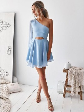 A-Line One Shoulder Above-Knee Light Blue Chiffon Homecoming Dress