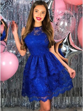 A-Line Crew Above-Knee Royal Blue Lace Homecoming Dress with Appliques