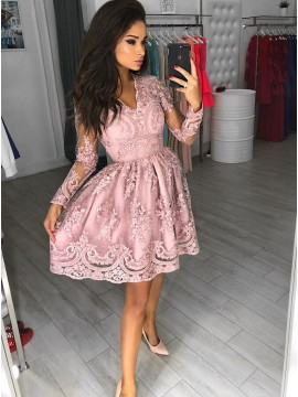 A-Line V-Neck Long Sleeves Short Pink Homecoming Dress with Appliques