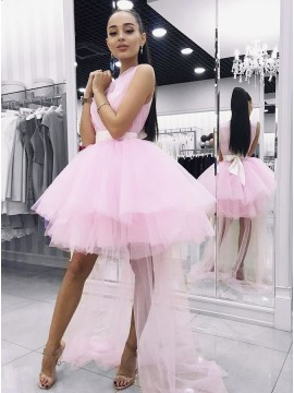 A-Line V-Neck Above-Knee Pink Tiered Detachable Homecoming Dress