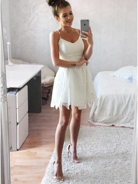A-Line Spaghetti Straps Above-Knee White Lace Homecoming Dress