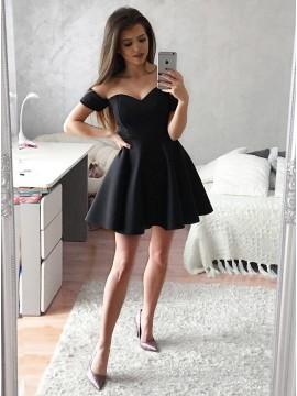 A-Line Off-the-Shoulder Short Black Satin Homecoming Dress