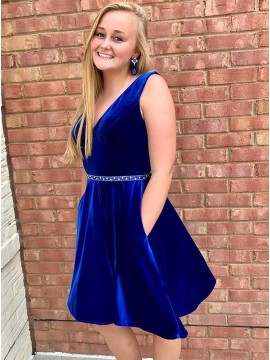 A-Line V-Neck Knee-Length Royal Blue Homecoming Dress with Pockets Beading