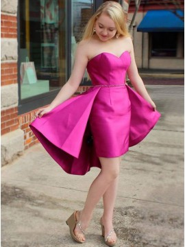 Sheath Sweetheart Above-Knee Fuchsia Detachable Satin Homecoming Dress