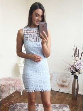 Sheath Crew Sleeveless Short Light Blue Lace Homecoming Dress