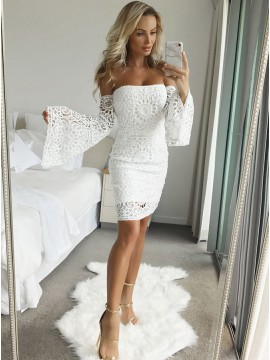 Sheath Off-the-Shoulder Bell Sleeves Above-Knee White Lace Homecoming Dress