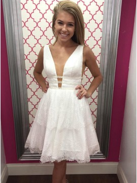 A-Line V-Neck Above-Knee White Lace Homecoming Dress with Beading