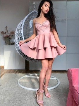 A-Line Spaghetti Straps Short Pink Tiered Homecoming Dress with Appliques