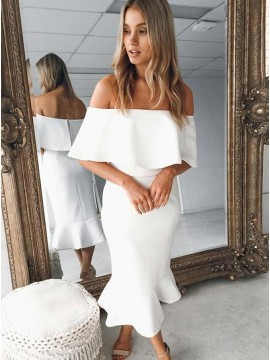 Mermaid Off the Shoulder White Satin Homecoming Dress with Ruffles
