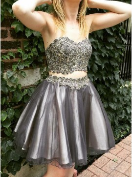 Two Piece Sweetheart Short Grey Homecoming Dress with Appliques