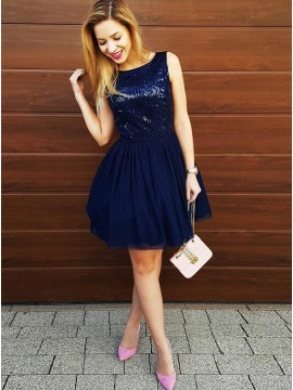 A-Line Bateau Sleeveless Navy Blue Tulle Homecoming Dress with Sequins